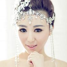 Freies Verschiffen Romantische 2014 neue empfehlen Haarbänder Glitter Stirnbänder Brautjungfer Hochzeit Haarschmuck Headwear Braut Hüte(China (Mainland))