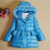 Fashion Winter girls jacket Children down coat female child medium-long rabbit fur collar fur outerwear parkas Size 100-120