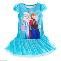 Retail 2014 new  frozen  dress  ,summer girl dress with lace,girls clothes,short sleeve,Free shipping