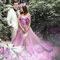 D87 vestido de noiva 2014  fashionable  large flower pattern purple super beautiful wedding dress  bridal ball gown