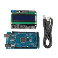 XD-219996 DIY Mega 2560 R3 Board + Keypad Shield 1602 LCD Board + USB Cable For Arduino - Blue + Black Free Shipping