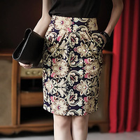 2013 Korea Stylish Floral Vintage Retro Women Elegant Skirt