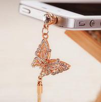 Big Brand Phone Crystal Dust Plug Beautiful Rhinestone Butterfly Tassel Cellphone Accessories SP031
