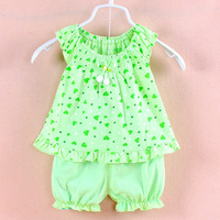 Retail 1 Set Hot Sale 2014 Summer Love Patterns Baby Girl Suit Set 2pcs T Shirt and Shorts Free Shipping