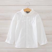 2014 New autumn,girls white blouses,children cotton shirts,bow,beads,lace collar,2-8 yrs,5 pcs/lot, wholesale kids clothing,1521