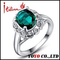 2014 New Brand Fashion Emerald Green Ring 18k Gold Silver Plated Imitation CZ Diamond Austrian Crystal Rings for Women  BK004