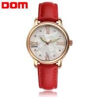 Luxury Brand Dom 2014 New Genuine leather rhinestone quartz watch women dress watches relogio feminino fashion women wristwatch