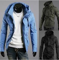 Foreign trade  purchasing wholesale arm hidden zipper turtleneck jacket hat Slim sportsman