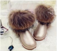 2014 LUXURY! Noble Fox Fur Genuine Leather Waterproof Snow Boots Women's Cow Muscle Medium-leg Outsole Boots Winter Shoe