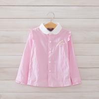 2014 New,girls striped blouses,children cotton shirts,long sleeve,bow,2-8 yrs,5 pcs/lot, wholesale kids clothing,1525