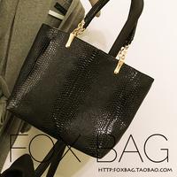 Fashion bag women's handbag for Crocodile black picture big shoulder bag handbag liner bags