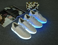 Free Shipping  Latest New Fashion Men Women Unisex Flats Leather Shoes Casual Breathable Sneakers LED Lights Shoes Size 35-44