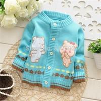 2014 hot Sweater / Baby Sweater / Beautiful Warm Cartoon bear cardigan / Baby cardigan Sweater ( 3 pcs / lot )