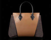 L 2014 w series classic presbyopic and color block decoration leather women's genuine leather handbag m40941