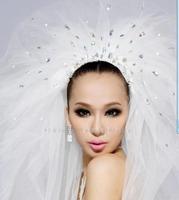 Special new stunning luxury bridal  trailing  multilayer crystal tiara  bride veil