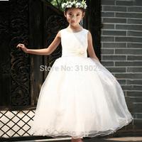 2014 New Girl Wedding dress Sleeveless Full dress Baby Chiffon dresses High quality Casual clothing 100-160cm