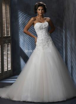Оптовая продажа без бретелек тюль милая аппликация свадебное платье платье бесплатная доставка