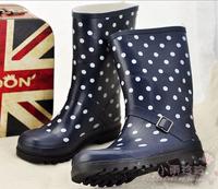 2014 women's fashion knee-high dot series water shoes overstrung rain shoes rain boots rainboots female shoes