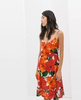 New Women Summer Floral Prints Spaghetti Strap Hollow Out On Back Dress, Ladies Cute V-Neck Slim Mini Dress q275