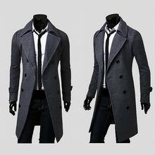 2014 fashion brand mens  wool winter coats,plus size long overcoat men pea coat,M/L/XL/XXL/XXXL free shipping down jacket(China (Mainland))