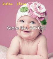 Dropshipping Handmade Kids Children White Flower Hat Knitted Photography Props Infant Beanie Caps Hats Short Costume Crochet