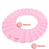 BuyNao 1 X Soft Baby Kids Children Shampoo Bath Bathing Shower Cap Hat Wash Hair Shield[Pink] [High Quality]