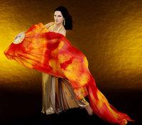 Tie Dye Belly Dance Thicker Silk Fan Veil Nebula Design 180cm  Fashion Accessories Free Shipping