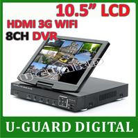 CCTV DVR 8CH h.264 video recorder Recording HDMI Output 8ch CCTV DVR Recorder 10.5 inch digital Combo LCD monitor DVR +FreeShip