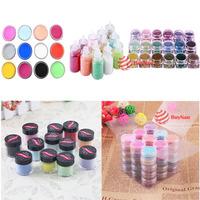 BuyNao 12Pcs Bottle Set Shimmering Powder Tip Rhinestone Manicure Nail Art Decor [High Quality]