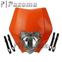 PAZOMA MOTORCYCLE Orange Dirtbike Motocross OFF ROAD Universal Headlights KTM SX EXC XCF SXF 300 Streetfighter headlamp Fairing