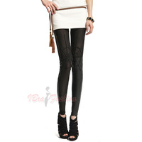 wholesale 2014 fashion Vogue black cobweb Spider net leggings Sexy Rock women lady slim stretch leggings Skinny Women's Clothes