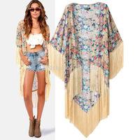 Free shipping  2014 Girl's  Tassels Patchwork Flower Pattern Mid-long Cotton Kimono  coat Womens Ladies Fashion jacket