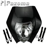 PAZOMA MOTORCYCLE Black Dirtbike Motocross OFF ROAD Universal Headlights ENDURO ROAD LEGAL KTM XR WR CR RMZ DR DRZ KLX KXF CRF
