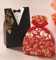 The Bride and Groom Wedding Candy Box Gift Bag Wedding Favor Holders Souvenir Bag Bow Hot Stamping Free Shipping