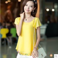 2014 summer short-sleeve chiffon top faux two piece chiffon shirt female 3589