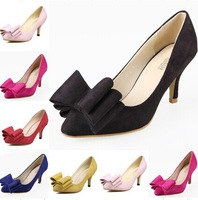 2014 Autumn New Women shoes High quality Big Bowtie Pumps European and American Fashion Pointed toe dress pumps US SIZE 4-9.