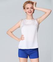 women's 2014 spring organza women's short-sleeve shirt chiffon slit neckline strapless top