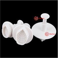 BuyNao 3 X Rose Leaf Fondant Cake Decorating Sugarcraft Plunger Cutter Mould Paste [High Quality]