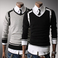 Clearance Best selling 3 Colour M-XXL New Men Sweater Jumper Tops Cardigan Premium Stylish Slim Fit V-neck Pullovers  7667