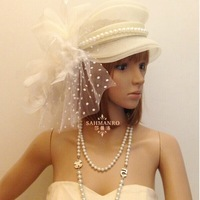 Free Shipping 2014 Summer Women's Bridal Hats High Quality Beading Leaves Mesh Flowers Wedding Hats
