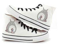 Free shipping 2014 Thick Women Men Cute Japan Totoro Hand Painted Sneaker Canvas Shoe White
