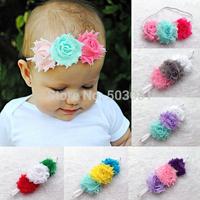 10pcs/lot Triple Hair bows Baby Infant Kids Colorful Shabby Chiffon Frayed Flowers Skinny Elastic Headbands Hair accessory