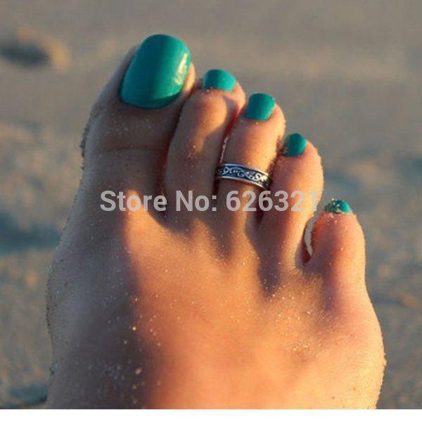 1PC Hot Punk Women Elegant Adjustable Antique Silver Metal Toe Ring Foot Beach Women Jewelry Drop