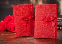 Customizable Wedding Invitations Card Wedding Favors with Envelope Handmade Ribbon Bow Delicate  50PCS Free Shipping
