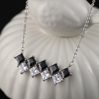 2014 new woman 3A black zircon cubemodern stunning exotic chic high fashion silver plated pendant necklace
