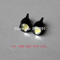 100pcs/lot Wholesale T10 2smd 5630 Lens High power W5W white  super bright Auto led car lighting wedge  lamp