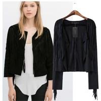Brand New 2015 Fashion Women's Black Color Suede Tassels Deco Cool Punk Jacket Cardigan Jackets Coat SML