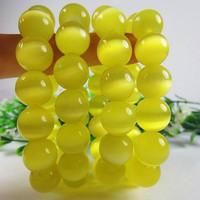 Yellow opal beads bracelet 6-16mm handmade elastic bracelet natural stone bracelets women men jewelry 0224