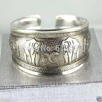 BR097800 Thai Elephant Metal Tibetan Silver vintage retro Fashion Bracelet Cuff Bangle Free Shipping for her
