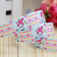 7/8'' Free shipping melody cartoon printed grosgrain ribbon hairbow headwear party decoration diy wholesale OEM 22mm P2963